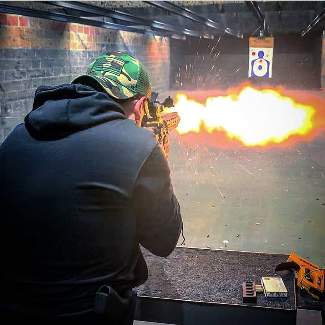 firing in Indoor gun range Texas