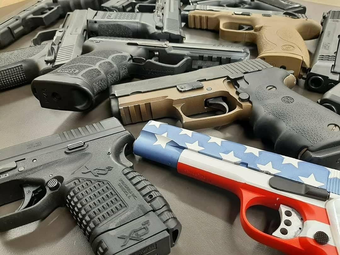 guns at the gun range